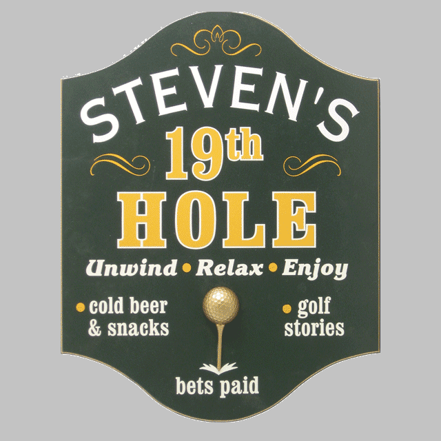 Custom Silk Screened 19th Hole Golf Sign OBC-4268