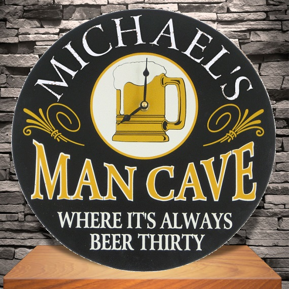 Custom Silk Screened Man Cave Clock Sign OBC-4497