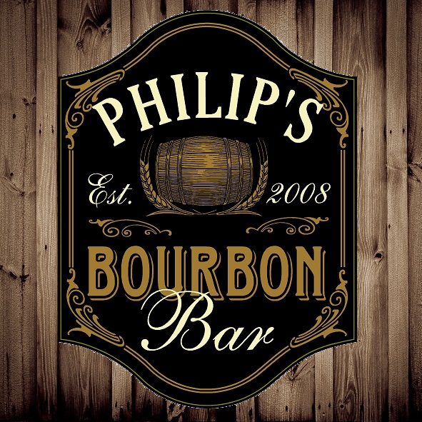 Custom Silk Screened Bourbon Bar Pub Sign OBC-5003-BOURBON-BAR