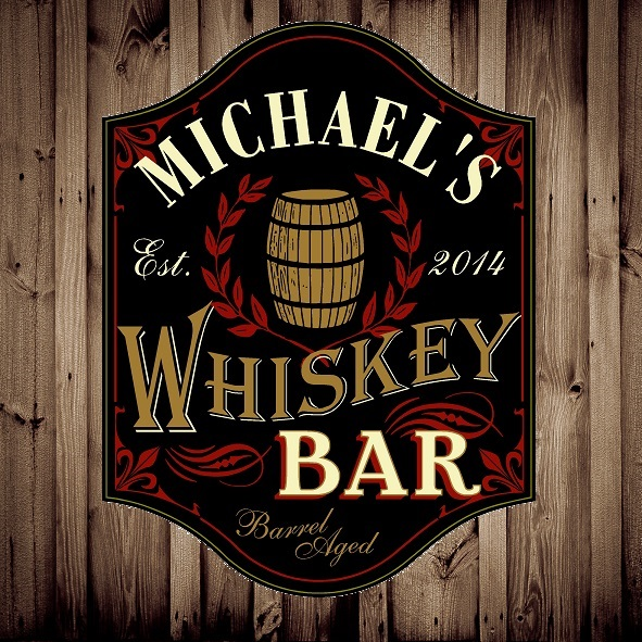 Custom Silk Screened Whiskey Bar Pub Sign OBC-5006-WHISKEY-BAR