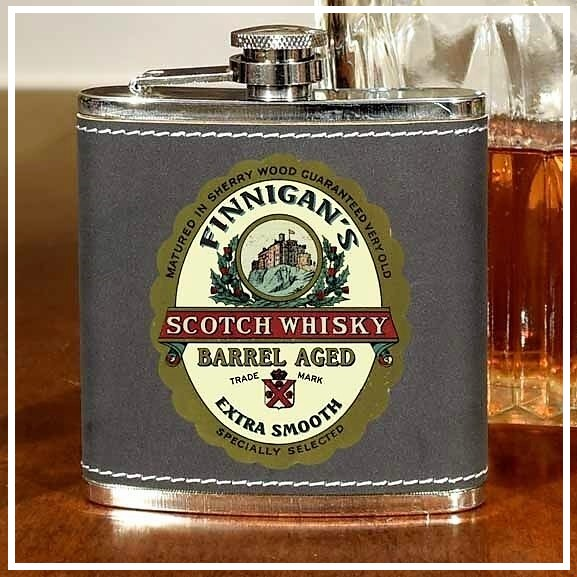 Personalized Vintage Scotch 6oz Flask OBC-6OZFLSK-B810