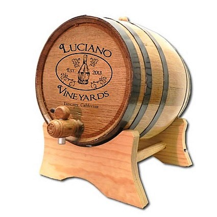 Engraved Chianti Bottle Mini Oak Wine Cask OBC-B313