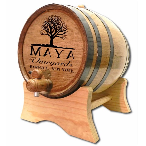 Engraved White Oak Tree Wine Barrel OBC-B331