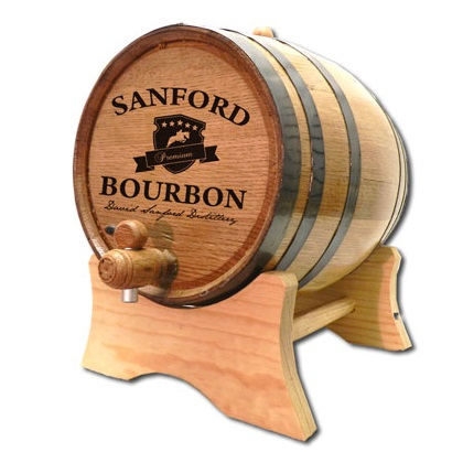 Oak Engraved Kentucky Horse Derby Bourbon Barrel OBC-B400