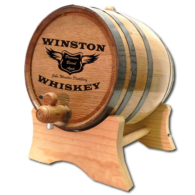 Laser Engraved Oak Spirit Wings Whiskey Barrel OBC-B401