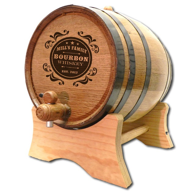 Engraved Oak Ragtime Mini Bourbon Whiskey Barrel OBC-B403