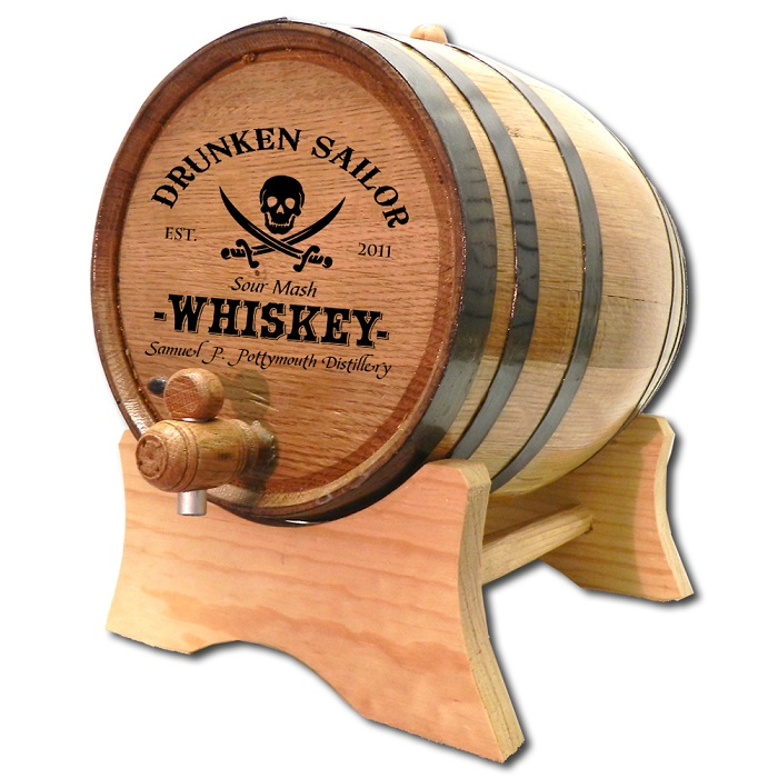 Engraved Pirate Skull Sour Mash Whiskey Barrel OBC-B425