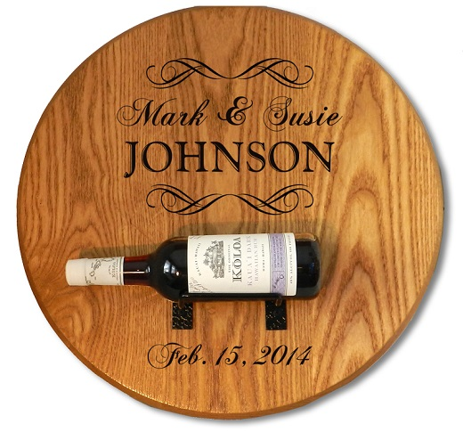 Personalized Barrel Head Sign With Wine Bottle Holder OBC-B502
