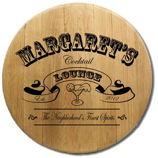 Engraved Reclaimed Barrel Head Cocktail Lounge Sign OBC-BH-105