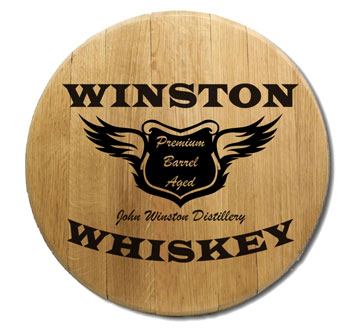Personalized Spirit Wings Oak Barrel Head Sign OBC-BH-401