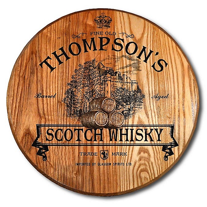 Personalized Scotch Whisky Barrel Head Sign OBC-BHR-3D30-Scottish-Castle
