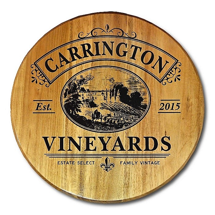 Personalized Vineyards Wine Barrel Sign OBC-BHR20-Vineyards