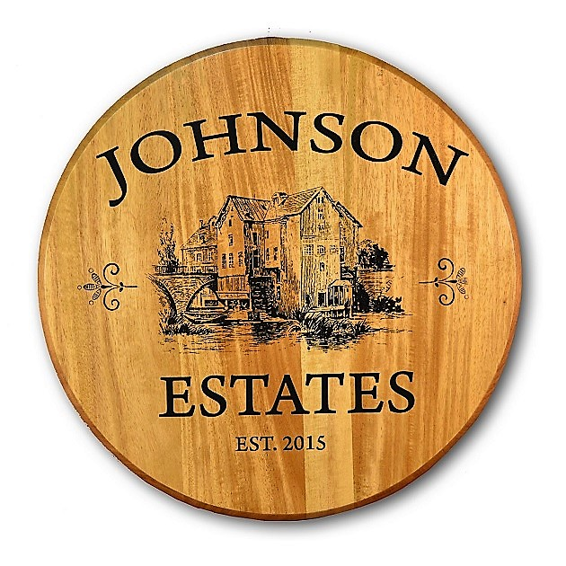 Personalized Estate Vineyard Oak Barrel Head Sign OBC-BHR
