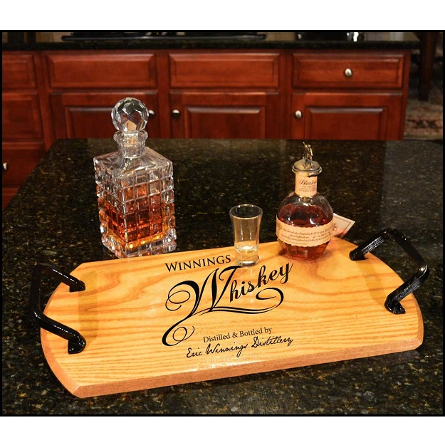 Reclaimed Oak Whiskey Barrel Custom Bistro Tray OBC-BTRAY-B415