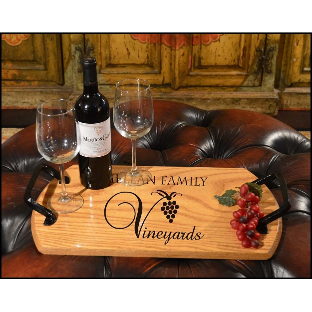 reclaimed oak wine barrel custom bistro tray personalize at