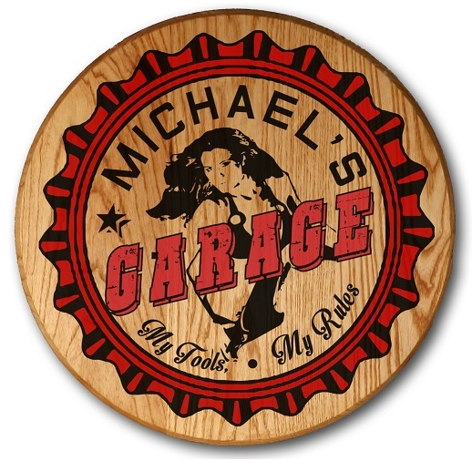 Personalized Garage Barrel Head Sign OBC-CBH6044-GARAGE