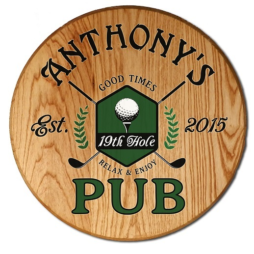 Personalized Golf 19th Hole Barrel Sign OBC-CBH6055-GOLF