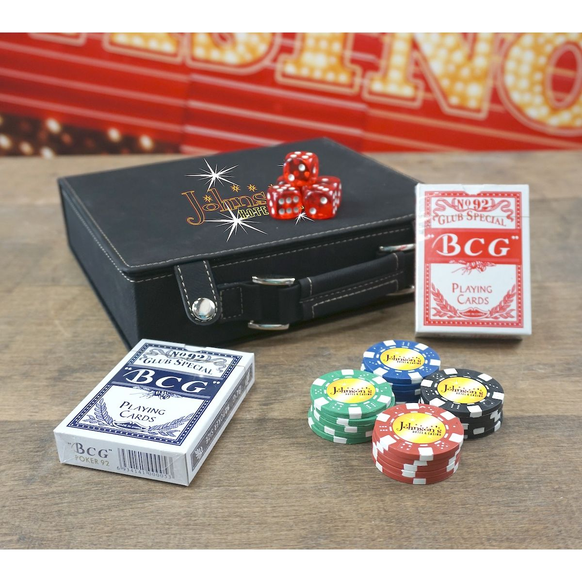 Personalized Poker 100 Chip Set With Leatherette Case OBC-CHIPS100_593