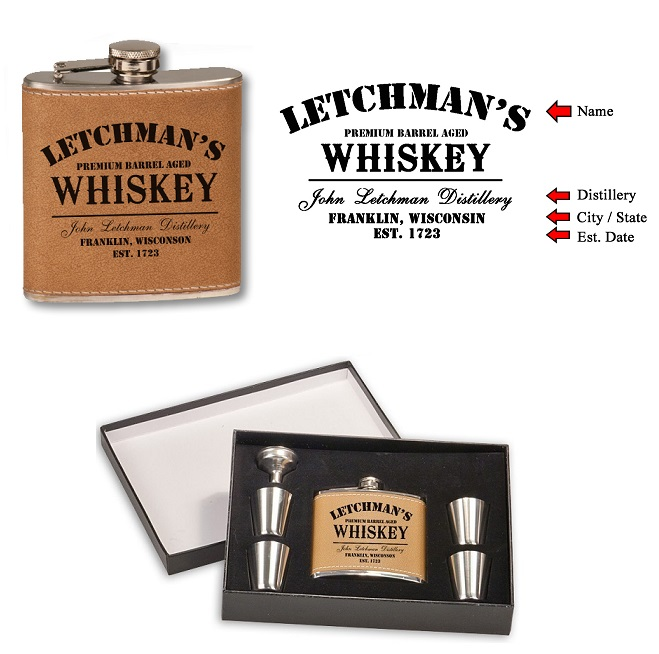 Custom Premium Aged Whiskey 6oz Leather Flask Set OBC-FLASKSET-P5