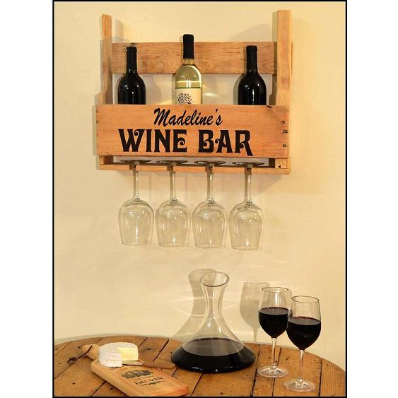 Personalized Half Pallet Wine Glass Rack