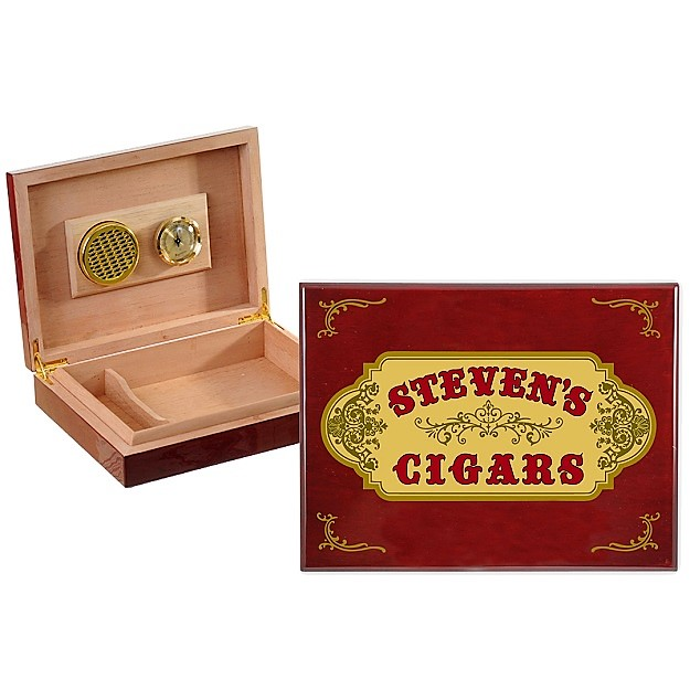 Personalized Vintage Label Spanish Cedar Humidor OBC-HMD01_B530