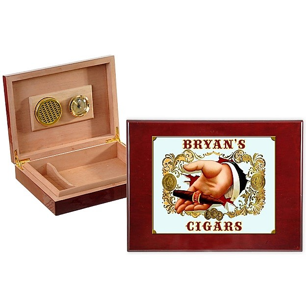 Personalized Vintage Seal Spanish Cedar Humidor OBC-HMD01_B531