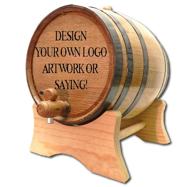 Designed By You Laser Engraved Oak Cask Barrel OBC-LOGO