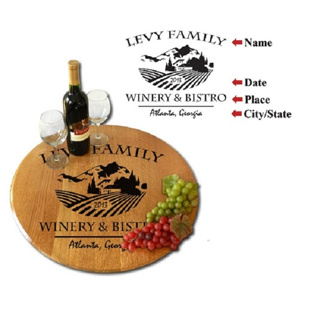 Custom Chateau Winery Oak Barrel Head Lazy Susan OBC-LS-B314
