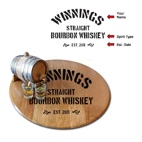 Custom Oak Bourbon Whiskey Barrel Lazy Susan OBC-LS-V20