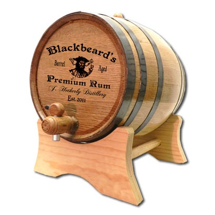 Engraved Pirate Aged Rum Mini Oak Barrel OBC-P3
