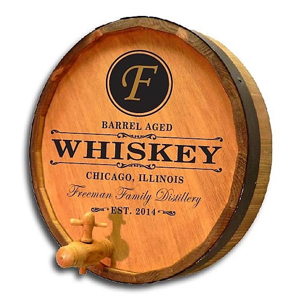 Custom Premium Aged Whiskey Quarter Barrel Sign OBC-QB-BA1