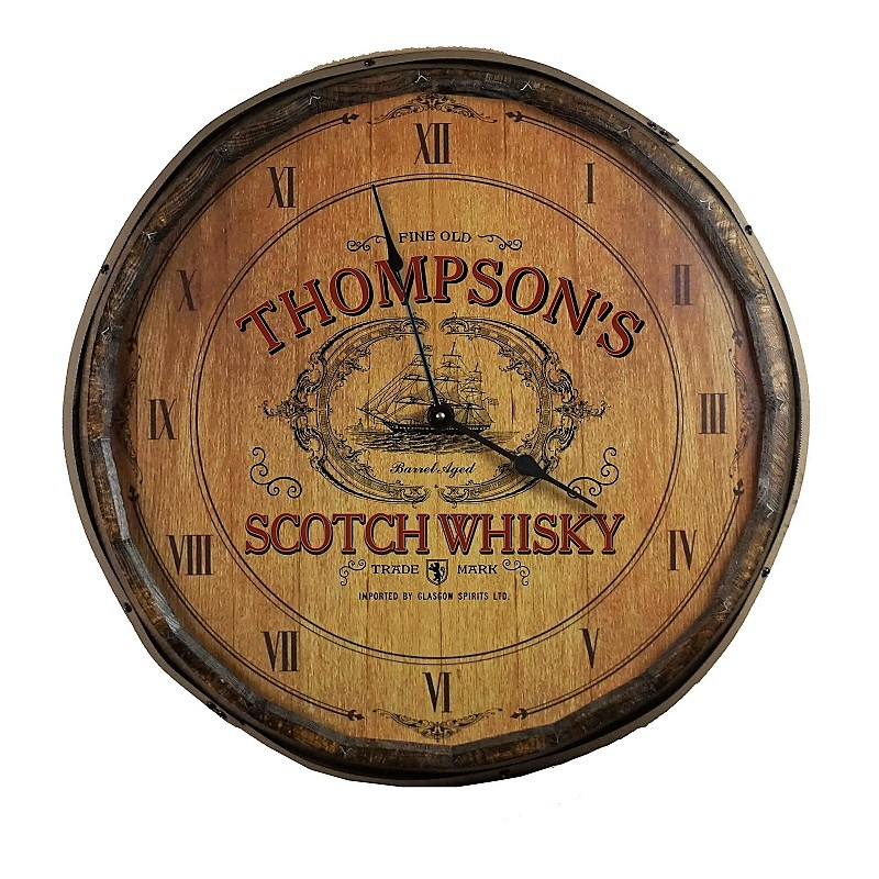 Personalized Scotch Whisky Quarter Barrel Clock OBC-QB-CLOCK-B548