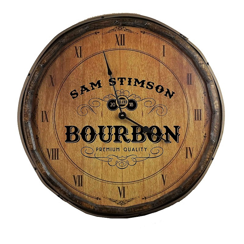 Personalized Crafted Bourbon Quarter Barrel Clock OBC-QB-CLOCK-B580