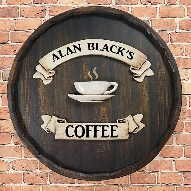 Personalized Quarter Barrel Coffee Shop Sign OBC-QBBR202