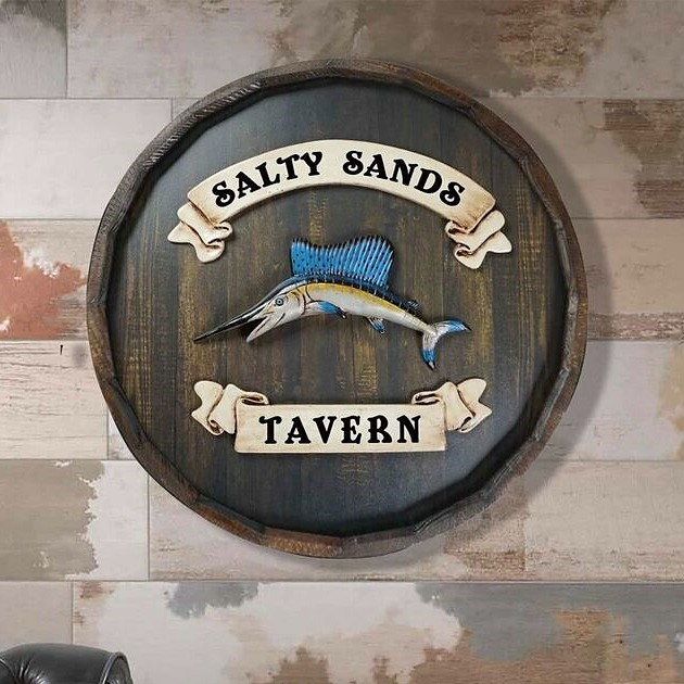 Personalized Quarter Barrel Swordfish Tavern Sign OBC-QBBR497