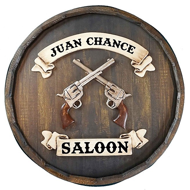 Personalized Quarter Barrel Old West Revolver Sign OBC-QBBR521