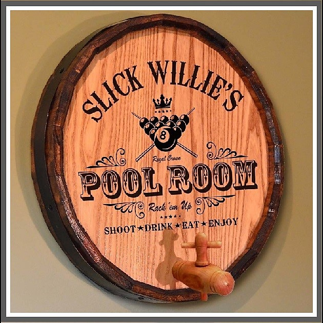Personalized Oak Quarter Barrel Pool Room Sign OBC-QBN-101