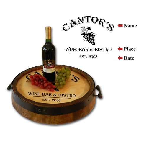 Custom Oak Quarter Barrel Wine Bistro Bar Serving Tray OBC-QBST-B325