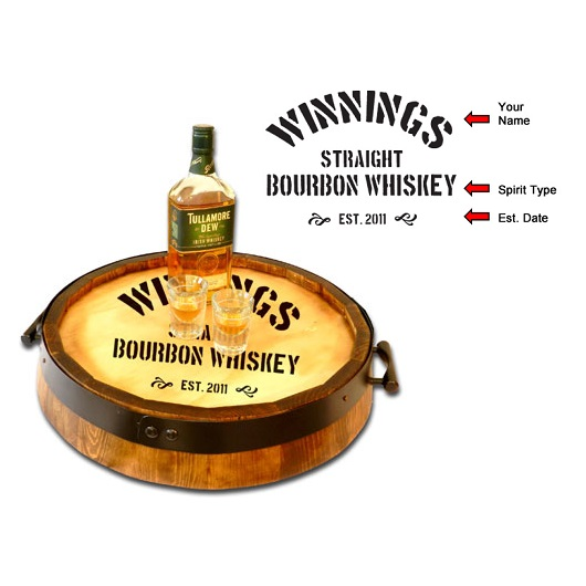 Custom Oak Quarter Barrel Spirit Serving Tray OBC-QBST-V20
