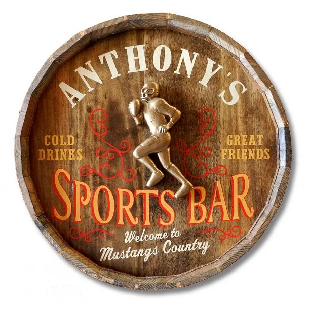 Personalized Vintage Football Quarter Barrel Sign OBC-QBX31