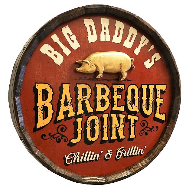 Personalized Barbeque Joint Quarter Barrel Sign OBC-QBX32-BBQ