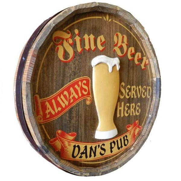 Personalized Fine Beer Quarter Barrel Sign OBC-QBX36