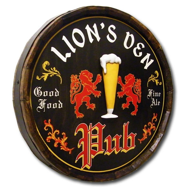 Personalized English Pub Quarter Barrel Sign OBC-QBX47