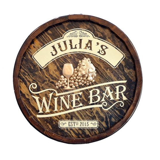 Personalized Wine Bar Quarter Barrel Sign OBC-QBX5