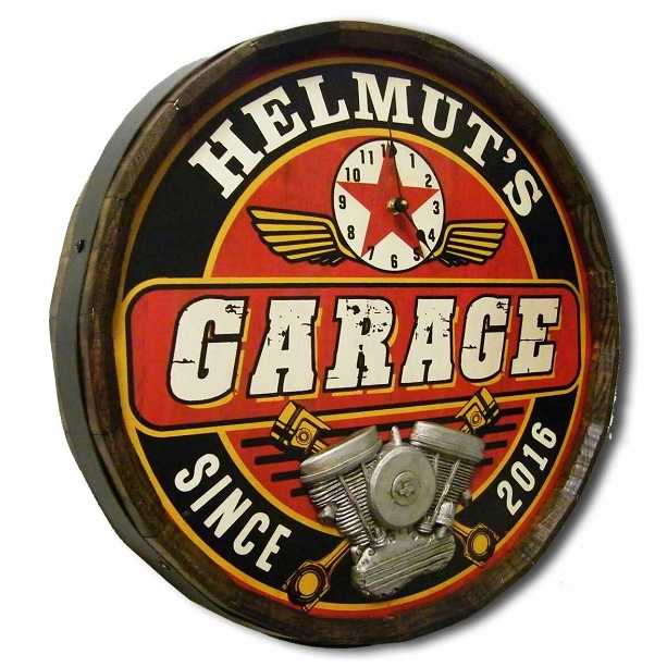 Personalized Garage Clock Quarter Barrel Sign OBC-QBX59