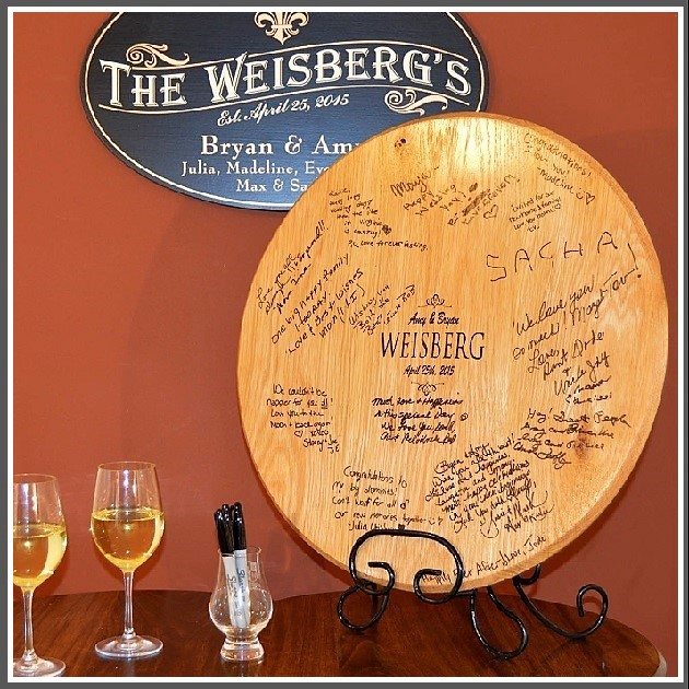 Personalized Wedding Signatures Barrel Head With Iron Stand OBC-SIGB_B506