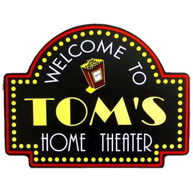 Custom Silk Screened Home Theater Popcorn Sign OBC-SIGN-3962