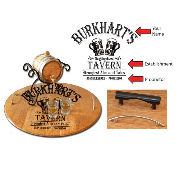 Custom Reclaimed Barrel Tavern Serving Tray OBC-ST-B102