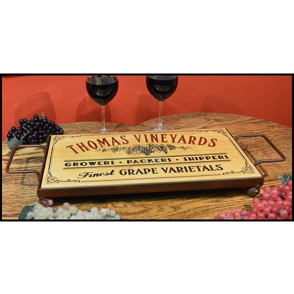 Personalized Oak Serving Tray In Wrought Iron Frame Base OBC-ST