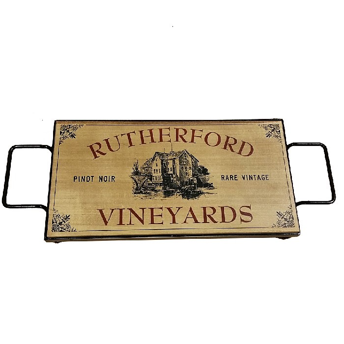 Personalized Vintage Vineyards Iron and Oak Serving Tray OBC-STVintage-Vineyards-101